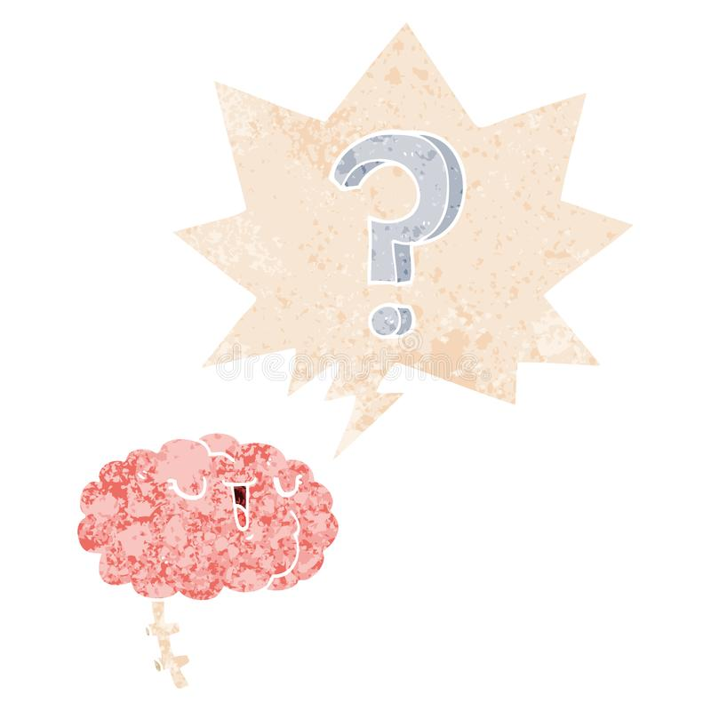 A creative cartoon curious brain and speech bubble in retro textured style. An original creative cartoon curious brain and speech bubble in retro textured style royalty free illustration