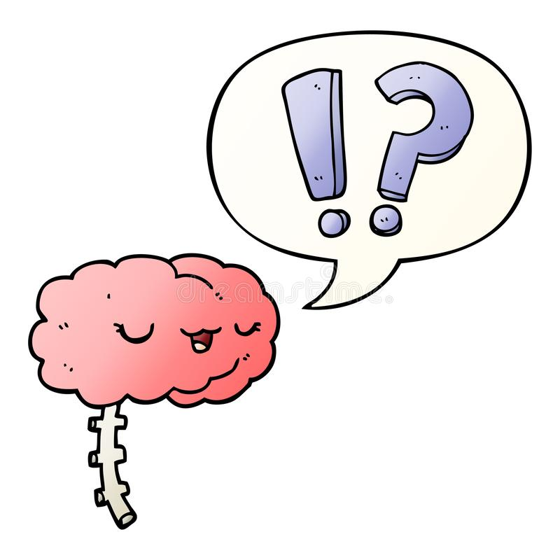 A creative cartoon curious brain and speech bubble in smooth gradient style. An original creative cartoon curious brain and speech bubble in smooth gradient royalty free illustration