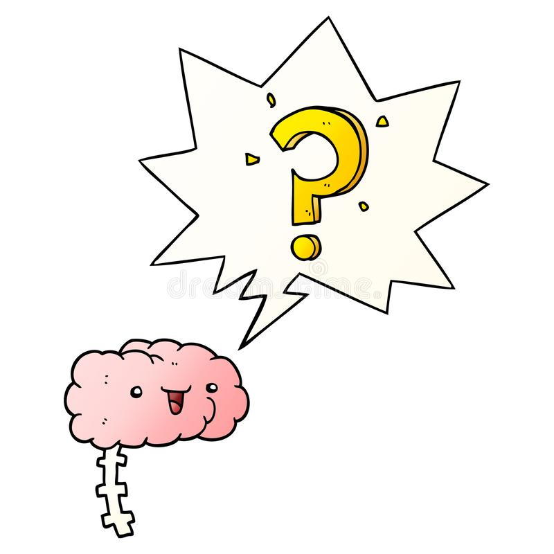 A creative cartoon curious brain and speech bubble in smooth gradient style. An original creative cartoon curious brain and speech bubble in smooth gradient stock illustration
