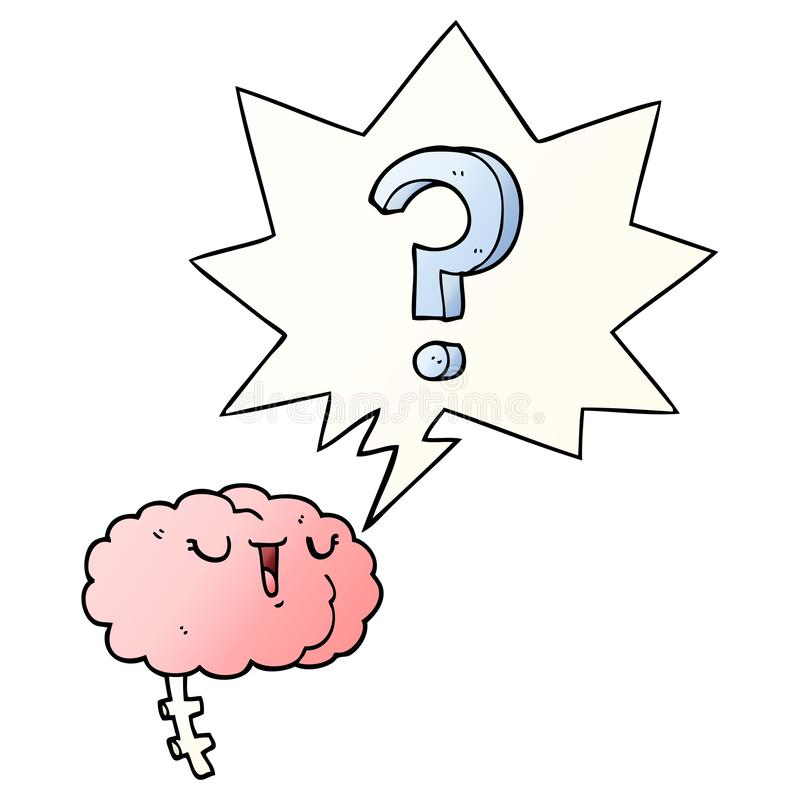 A creative cartoon curious brain and speech bubble in smooth gradient style. An original creative cartoon curious brain and speech bubble in smooth gradient vector illustration