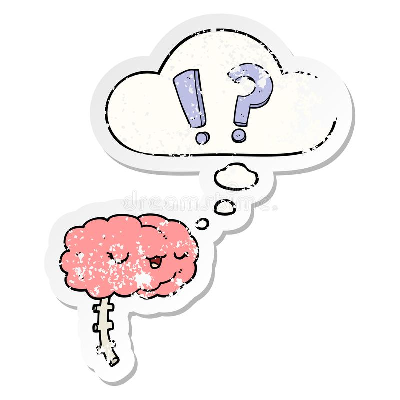 A creative cartoon curious brain and thought bubble as a distressed worn sticker. An original creative cartoon curious brain and thought bubble as a distressed stock illustration