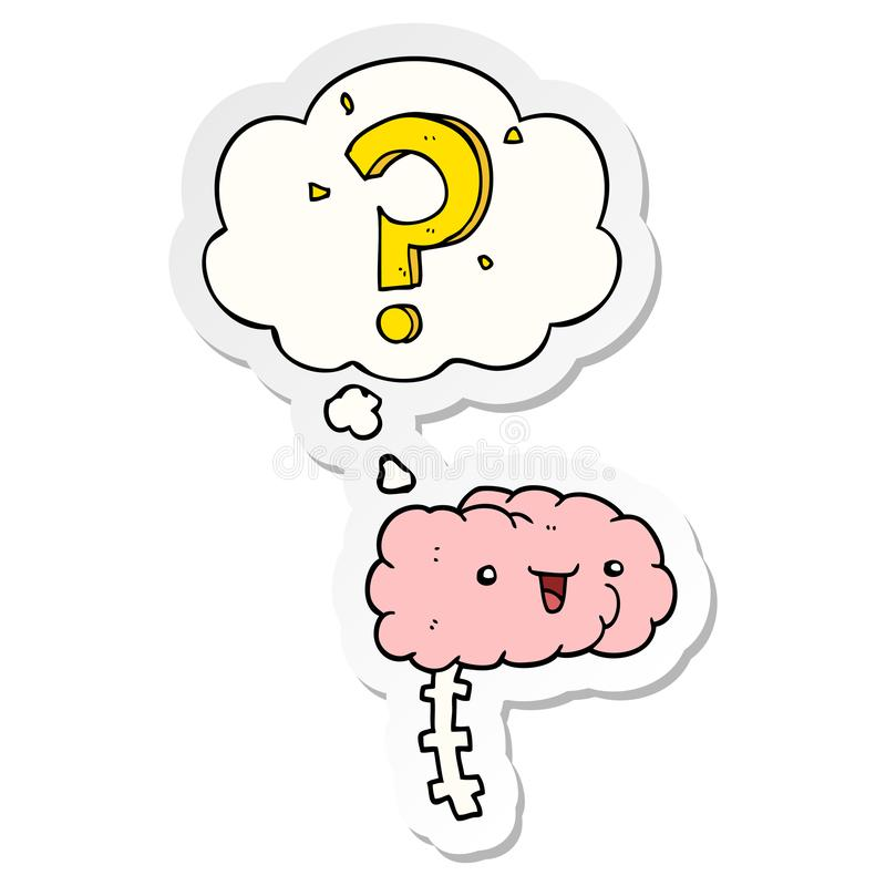 A creative cartoon curious brain and thought bubble as a printed sticker. An original creative cartoon curious brain and thought bubble as a printed sticker stock illustration
