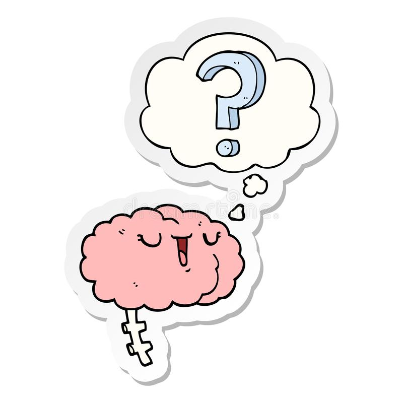 A creative cartoon curious brain and thought bubble as a printed sticker. An original creative cartoon curious brain and thought bubble as a printed sticker vector illustration