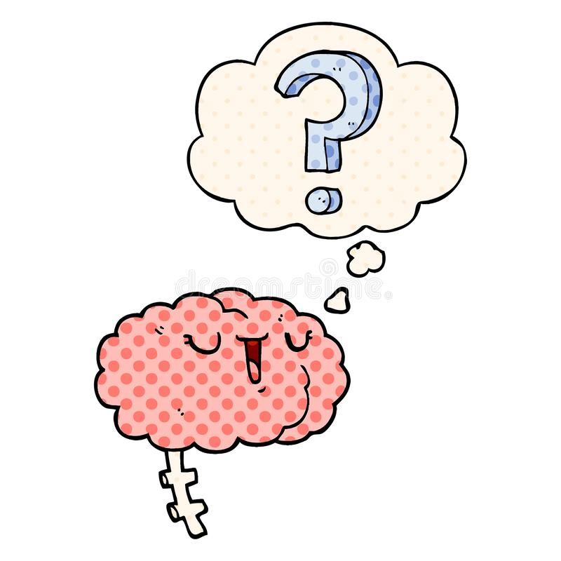A creative cartoon curious brain and thought bubble in comic book style. An original creative cartoon curious brain and thought bubble in comic book style royalty free illustration