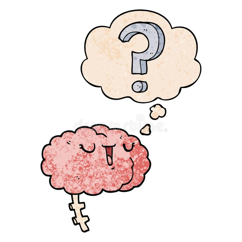 A creative cartoon curious brain and thought bubble in grunge texture pattern style. An original creative cartoon curious brain and thought bubble in grunge vector illustration