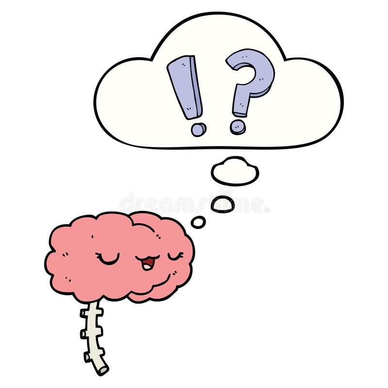 A creative cartoon curious brain and thought bubble. An original creative cartoon curious brain and thought bubble royalty free illustration