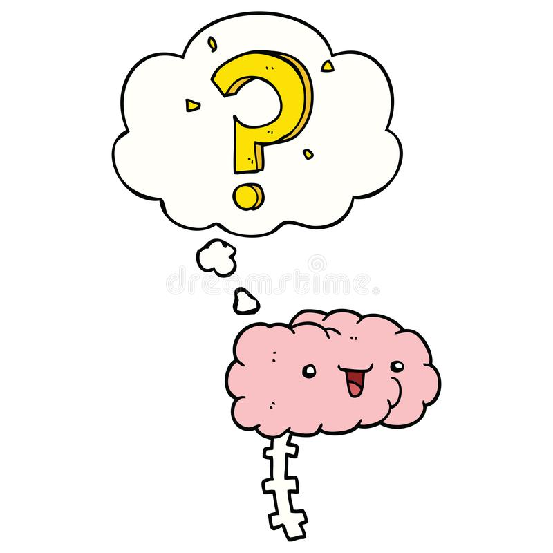 A creative cartoon curious brain and thought bubble. An original creative cartoon curious brain and thought bubble vector illustration