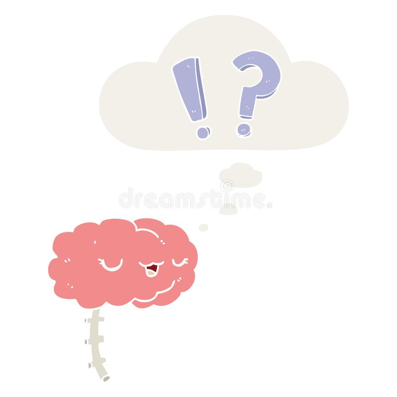 A creative cartoon curious brain and thought bubble in retro style. An original creative cartoon curious brain and thought bubble in retro style royalty free illustration