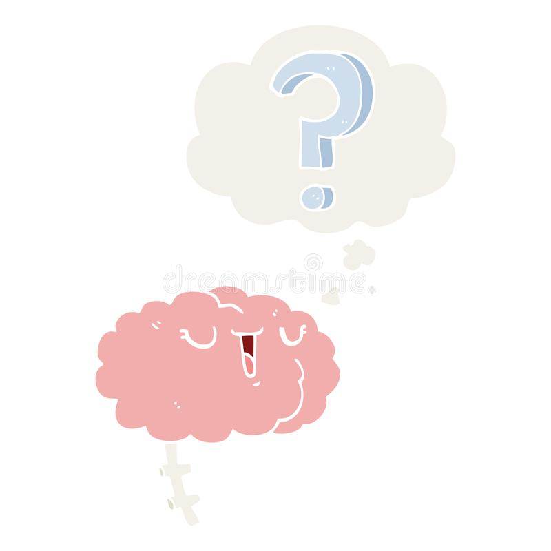 A creative cartoon curious brain and thought bubble in retro style. An original creative cartoon curious brain and thought bubble in retro style vector illustration