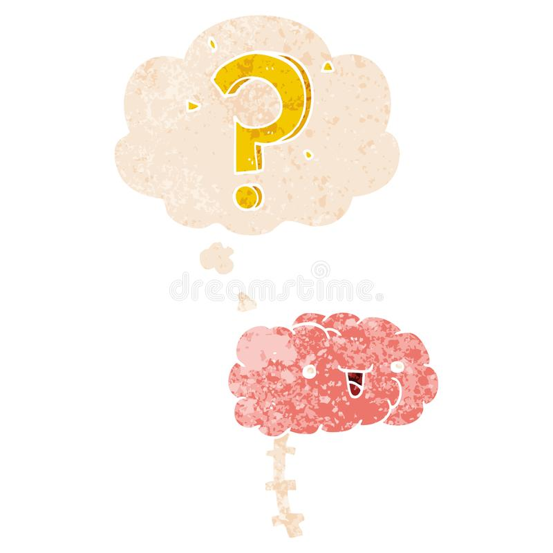 A creative cartoon curious brain and thought bubble in retro textured style. An original creative cartoon curious brain and thought bubble in retro textured vector illustration