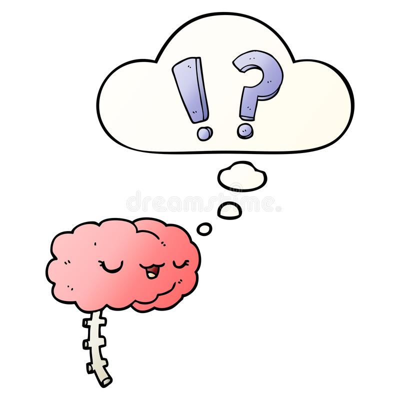 A creative cartoon curious brain and thought bubble in smooth gradient style. An original creative cartoon curious brain and thought bubble in smooth gradient vector illustration