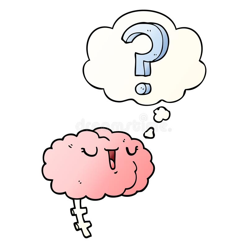 A creative cartoon curious brain and thought bubble in smooth gradient style. An original creative cartoon curious brain and thought bubble in smooth gradient stock illustration