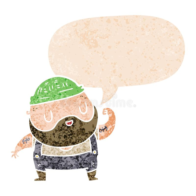 A creative cartoon dock worker and speech bubble in retro textured style. An original creative cartoon dock worker and speech bubble in retro textured style royalty free illustration