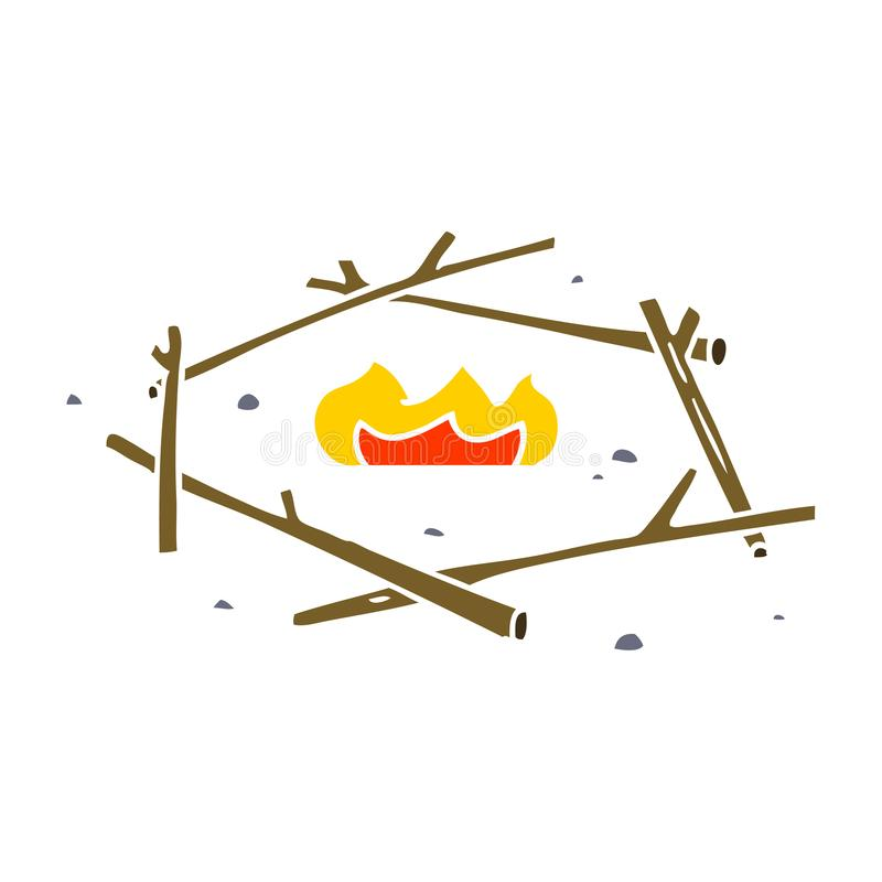 A creative cartoon doodle of a camp fire. An original creative cartoon doodle of a camp fire royalty free illustration