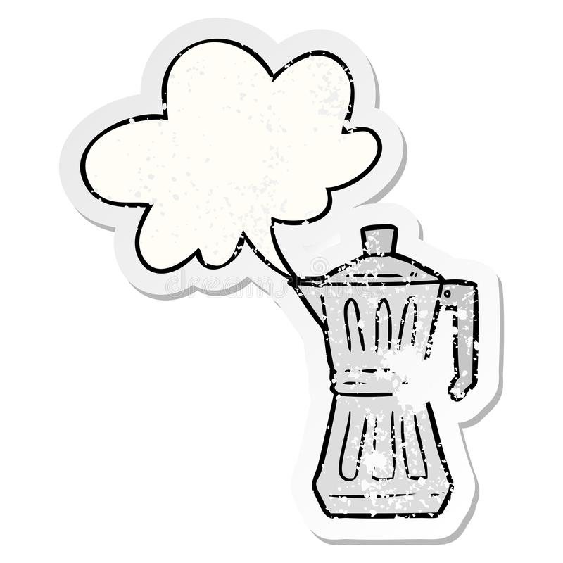 A creative cartoon espresso maker and speech bubble distressed sticker. An original creative cartoon espresso maker and speech bubble distressed sticker royalty free illustration
