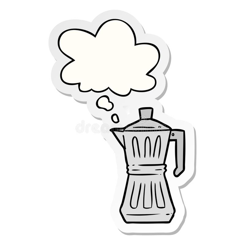 A creative cartoon espresso maker and thought bubble as a printed sticker. An original creative cartoon espresso maker and thought bubble as a printed sticker royalty free illustration