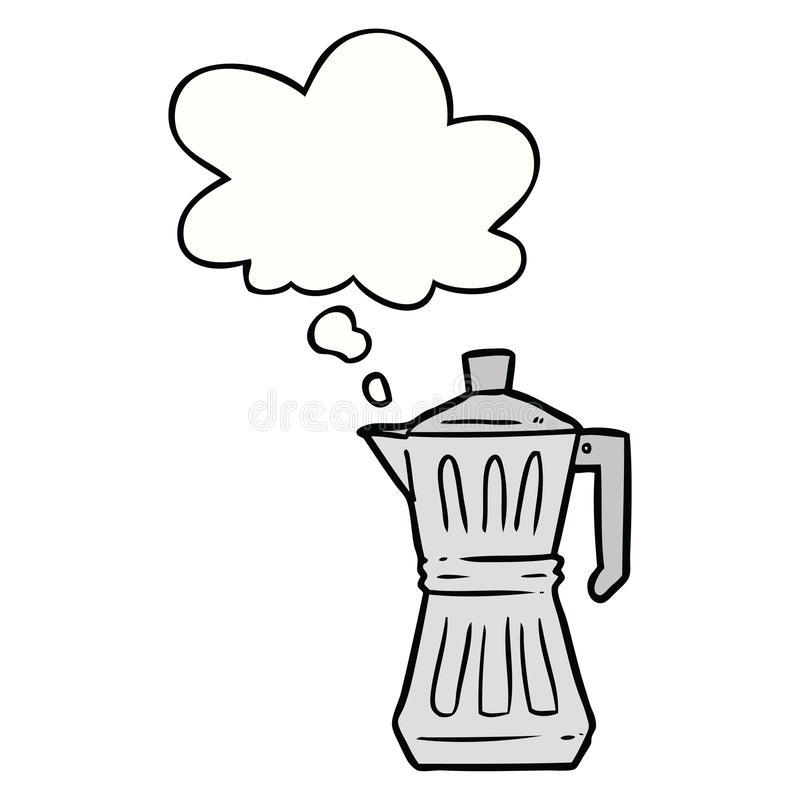 A creative cartoon espresso maker and thought bubble. An original creative cartoon espresso maker and thought bubble royalty free illustration