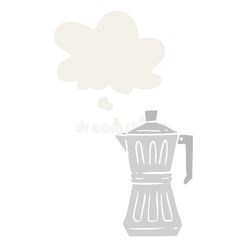 A creative cartoon espresso maker and thought bubble in retro style. An original creative cartoon espresso maker and thought bubble in retro style stock illustration