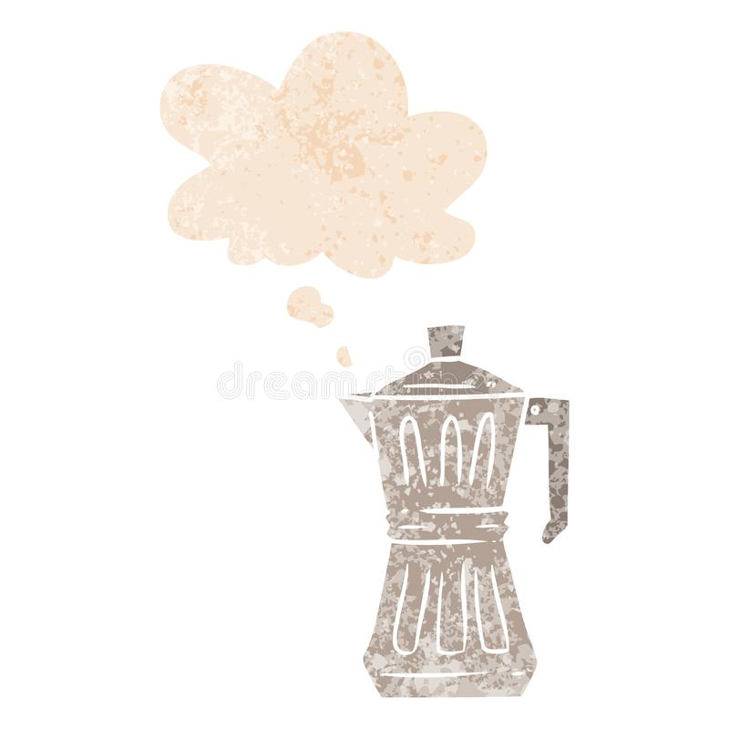 A creative cartoon espresso maker and thought bubble in retro textured style. An original creative cartoon espresso maker and thought bubble in retro textured vector illustration