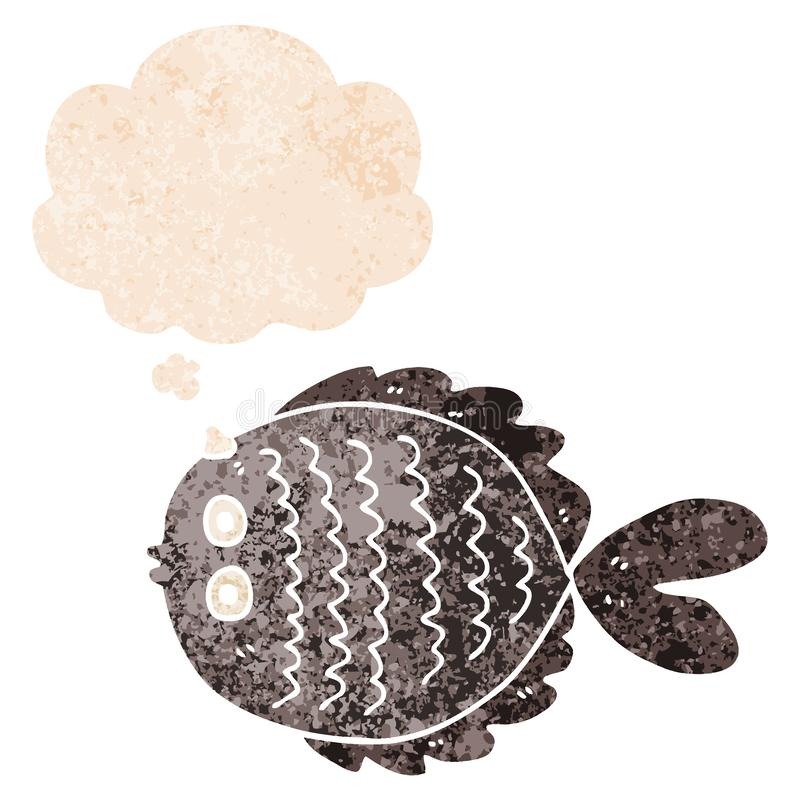 A creative cartoon flat fish and thought bubble in retro textured style vector illustration