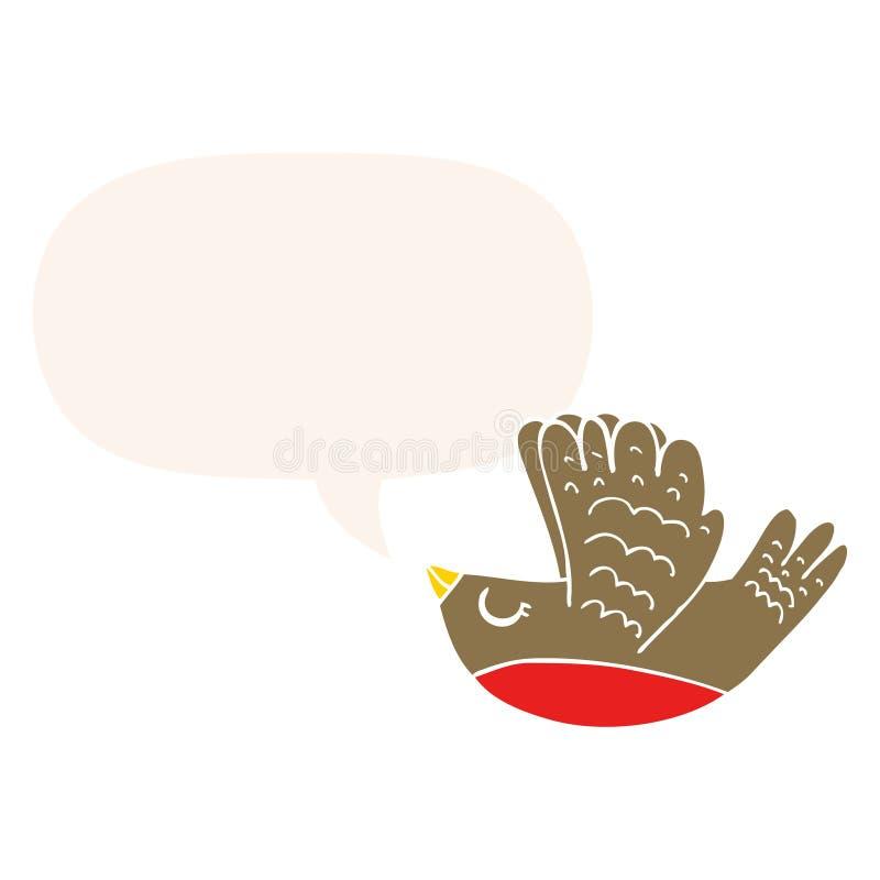 A creative cartoon flying bird and speech bubble in retro style. An original creative cartoon flying bird and speech bubble in retro style vector illustration