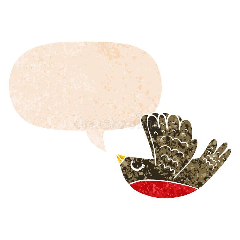 A creative cartoon flying bird and speech bubble in retro textured style. An original creative cartoon flying bird and speech bubble in retro textured style stock illustration