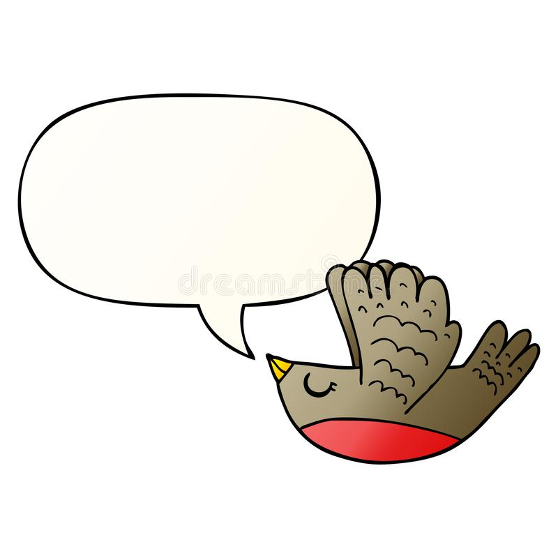 A creative cartoon flying bird and speech bubble in smooth gradient style. An original creative cartoon flying bird and speech bubble in smooth gradient style vector illustration
