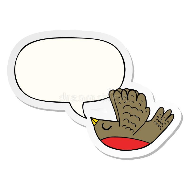A creative cartoon flying bird and speech bubble sticker. An original creative cartoon flying bird and speech bubble sticker royalty free illustration
