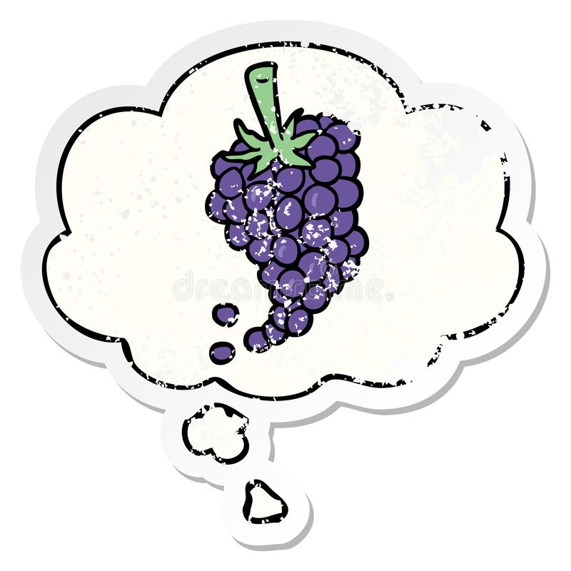 A creative cartoon grapes and thought bubble as a distressed worn sticker. An original creative cartoon grapes and thought bubble as a distressed worn sticker vector illustration