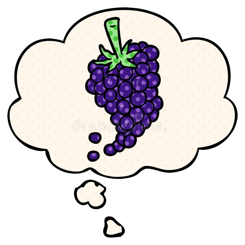 A creative cartoon grapes and thought bubble in comic book style. An original creative cartoon grapes and thought bubble in comic book style royalty free illustration