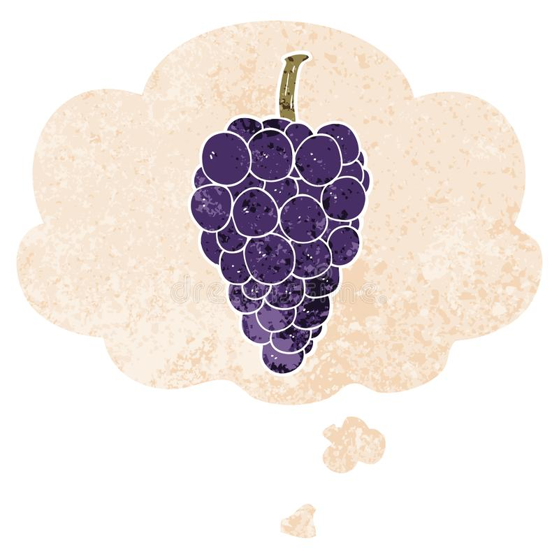 A creative cartoon grapes and thought bubble in retro textured style. An original creative cartoon grapes and thought bubble in retro textured style vector illustration