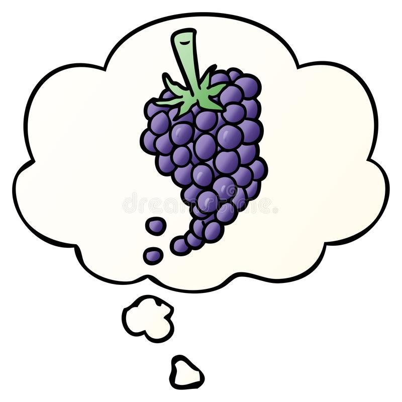 A creative cartoon grapes and thought bubble in smooth gradient style. An original creative cartoon grapes and thought bubble in smooth gradient style vector illustration