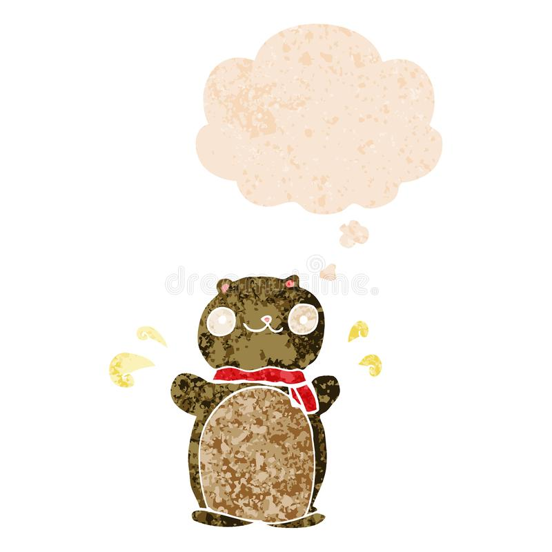 A creative cartoon happy teddy bear and thought bubble in retro textured style. An original creative cartoon happy teddy bear and thought bubble in retro vector illustration