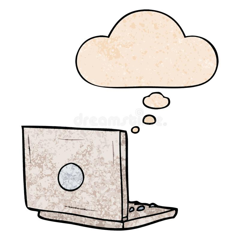 A creative cartoon laptop computer and thought bubble in grunge texture pattern style stock illustration