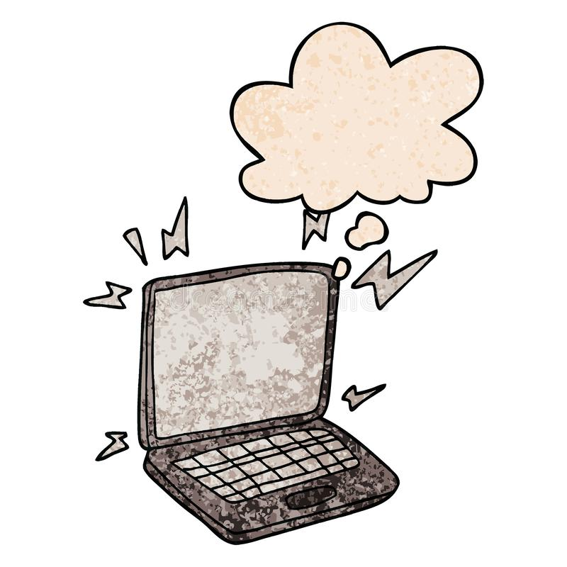 A creative cartoon laptop computer and thought bubble in grunge texture pattern style royalty free illustration