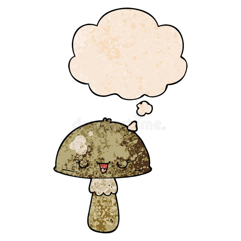 A creative cartoon mushroom and thought bubble in grunge texture pattern style royalty free stock image