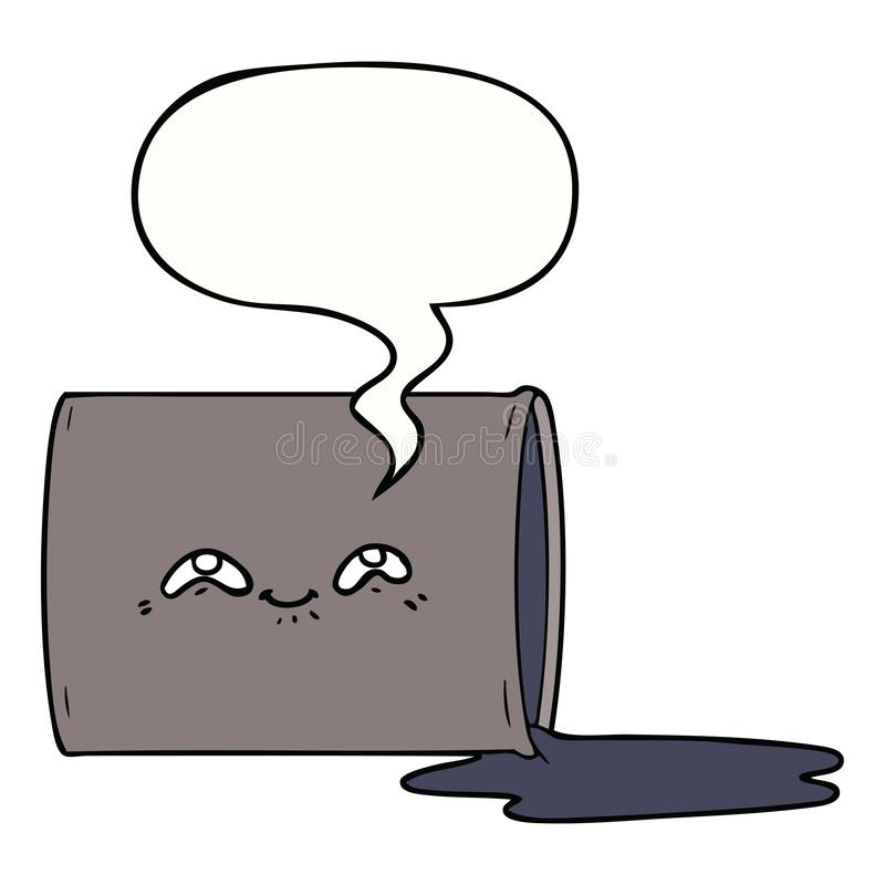 A creative cartoon oil drum and speech bubble. An original creative cartoon oil drum and speech bubble stock illustration