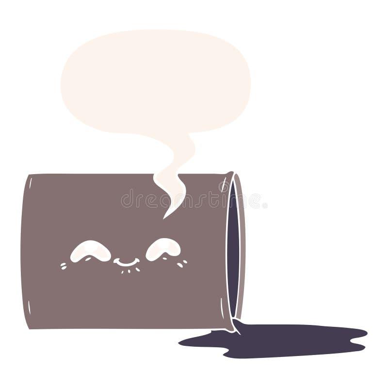 A creative cartoon oil drum and speech bubble in retro style. An original creative cartoon oil drum and speech bubble in retro style vector illustration