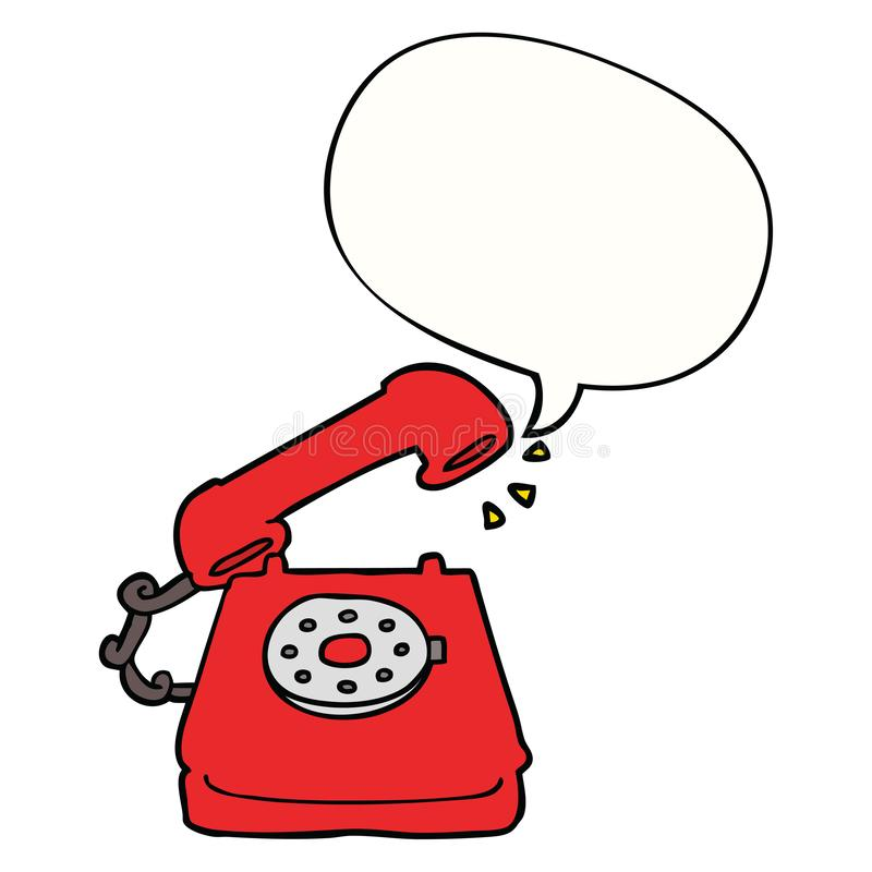 A creative cartoon old telephone and speech bubble. An original creative cartoon old telephone and speech bubble royalty free illustration