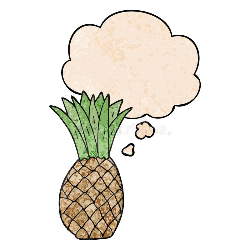 A creative cartoon pineapple and thought bubble in grunge texture pattern style royalty free illustration