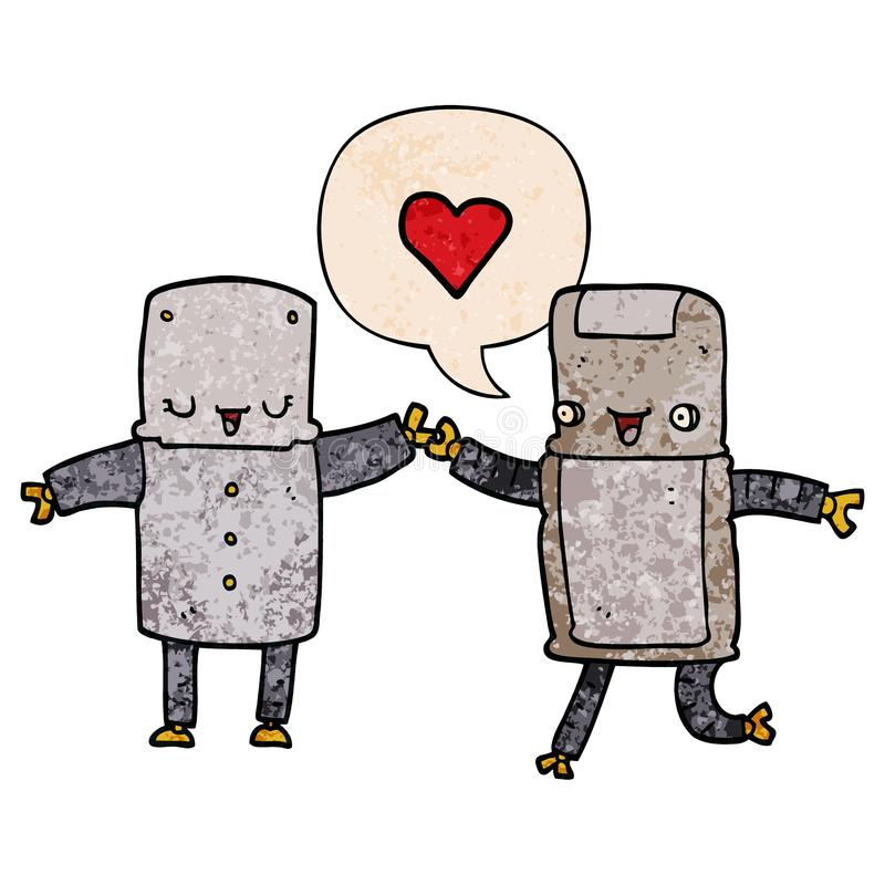 A creative cartoon robots in love and speech bubble in retro texture style stock illustration
