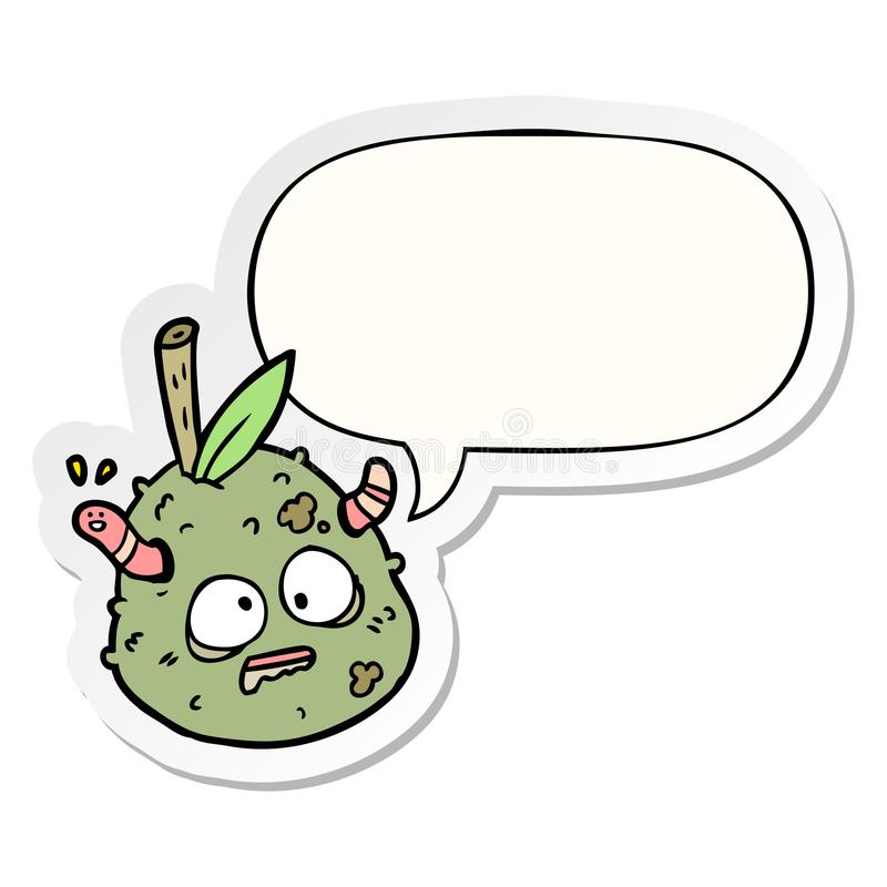 A creative cartoon rotting old pear and worm and speech bubble sticker. An original creative cartoon rotting old pear and worm and speech bubble sticker stock illustration