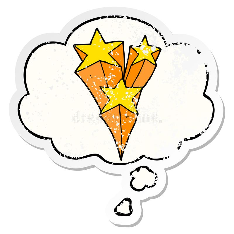 A creative cartoon shooting stars and thought bubble as a distressed worn sticker. An original creative cartoon shooting stars and thought bubble as a distressed vector illustration