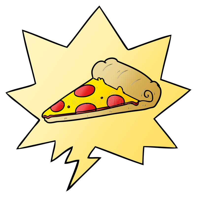 A creative cartoon slice of pizza and speech bubble in smooth gradient style. An original creative cartoon slice of pizza and speech bubble in smooth gradient royalty free illustration