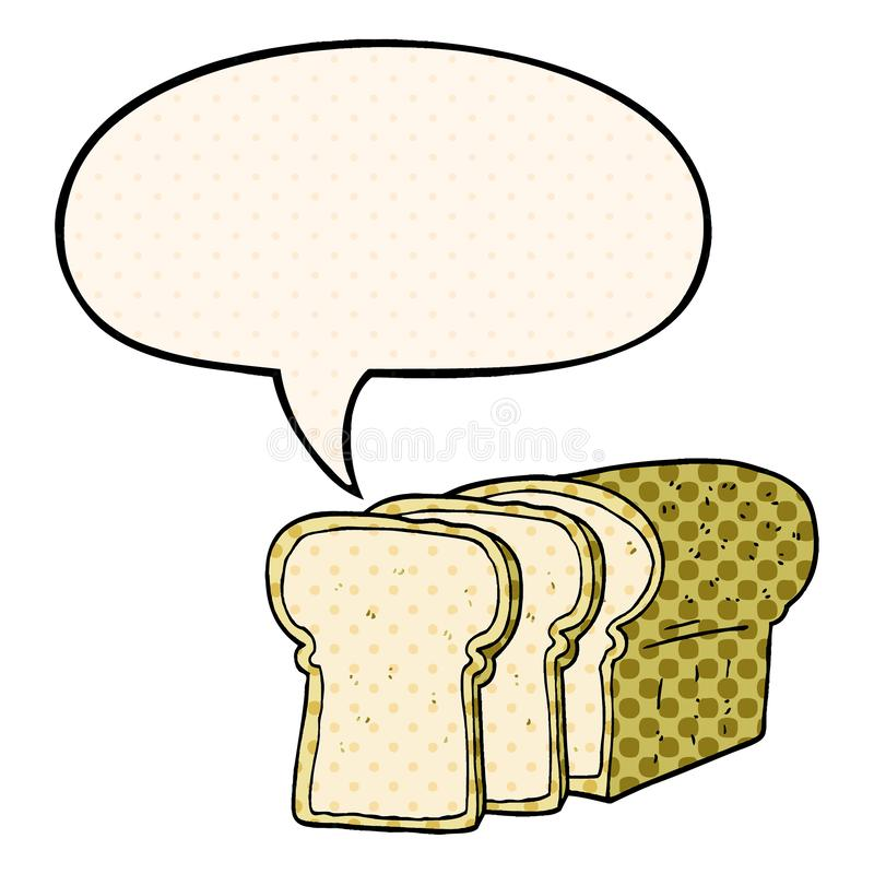 A creative cartoon sliced bread and speech bubble in comic book style. An original creative cartoon sliced bread and speech bubble in comic book style royalty free illustration
