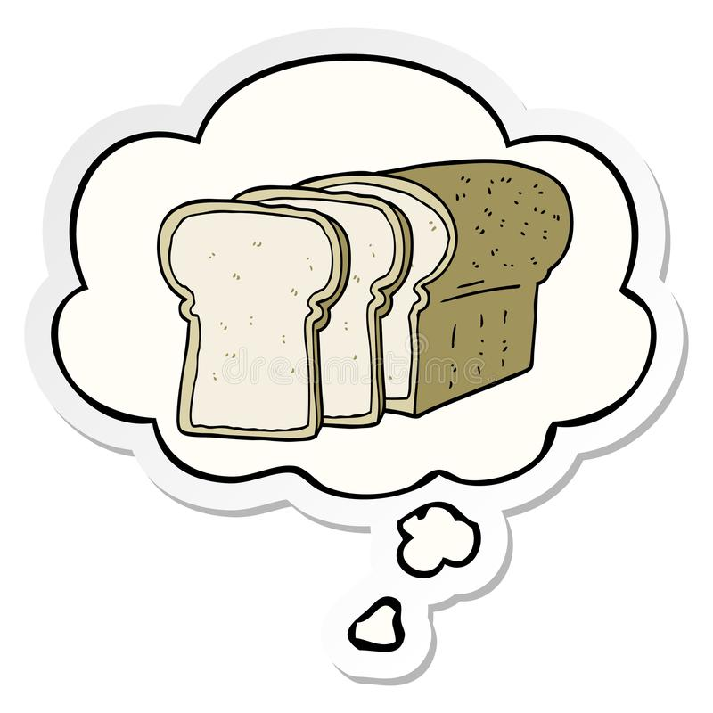 A creative cartoon sliced bread and thought bubble as a printed sticker. An original creative cartoon sliced bread and thought bubble as a printed sticker stock illustration