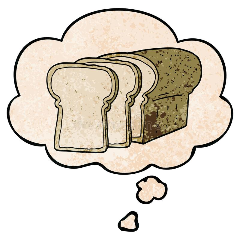 A creative cartoon sliced bread and thought bubble in grunge texture pattern style. An original creative cartoon sliced bread and thought bubble in grunge royalty free illustration