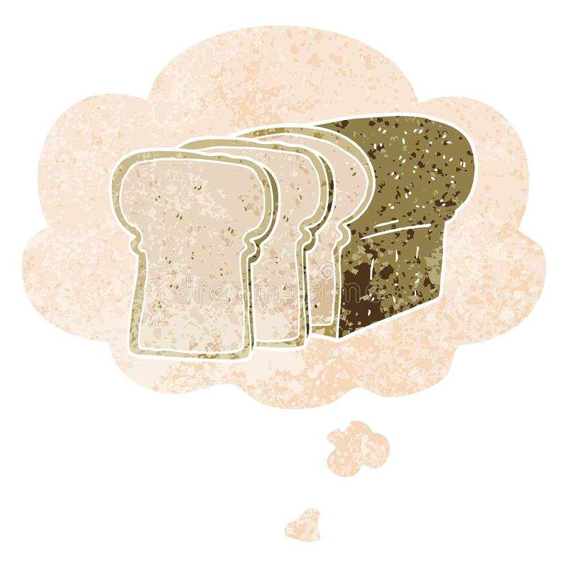 A creative cartoon sliced bread and thought bubble in retro textured style. An original creative cartoon sliced bread and thought bubble in retro textured style royalty free illustration