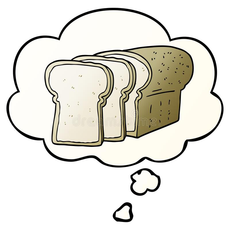A creative cartoon sliced bread and thought bubble in smooth gradient style. An original creative cartoon sliced bread and thought bubble in smooth gradient stock illustration