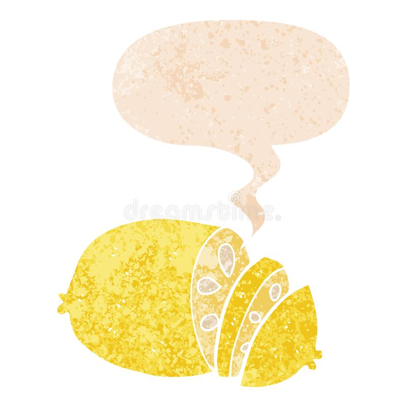 A creative cartoon sliced lemon and speech bubble in retro textured style. An original creative cartoon sliced lemon and speech bubble in retro textured style royalty free illustration